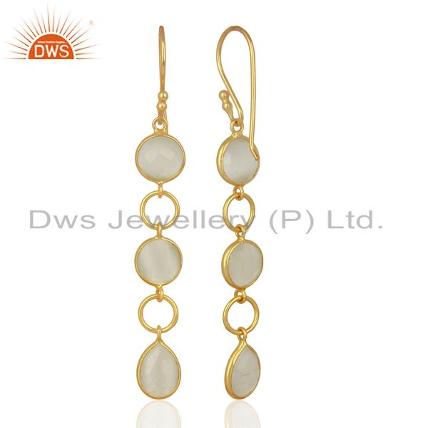 Suppliers 18K Yellow Gold Plated Sterling Silver White Moonstone Circle Dangle Earrings
