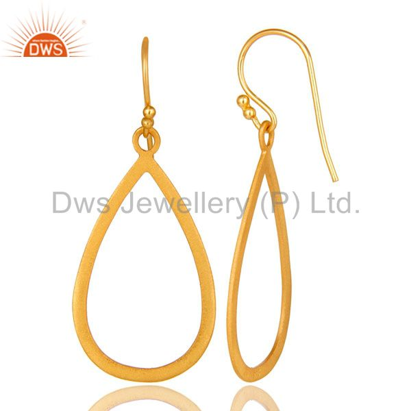 Designers 18K Yellow Gold Plated Sterling Silver Cutout Drop Earrings