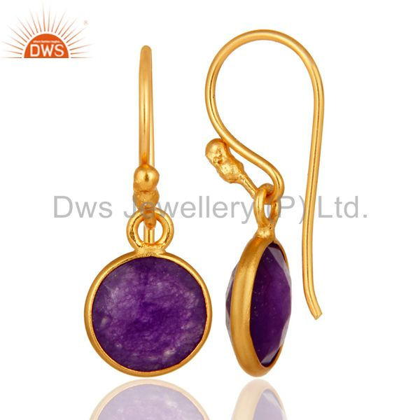 Designers 18K Gold Over Sterling Silver Bezel-Set Purple Chalcedony Drop Hook Earrings