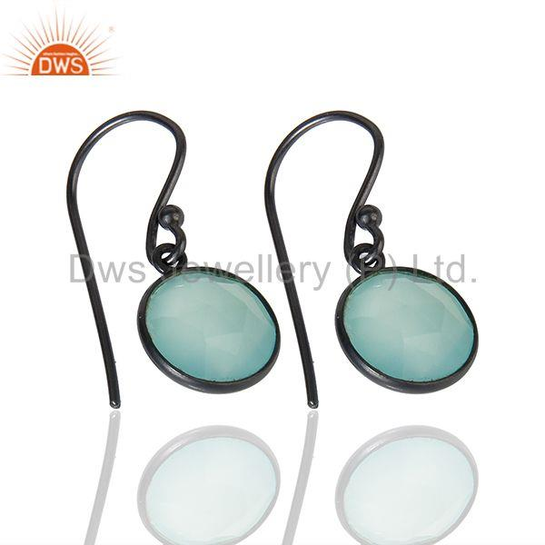 Suppliers Black Rhodium Plated 925 Silver Aqua Chalcedony Gemstone Earrings