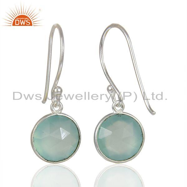 Suppliers Handmade Sterling Fine Silver Aqua Chalcedony Gemstone Earrings