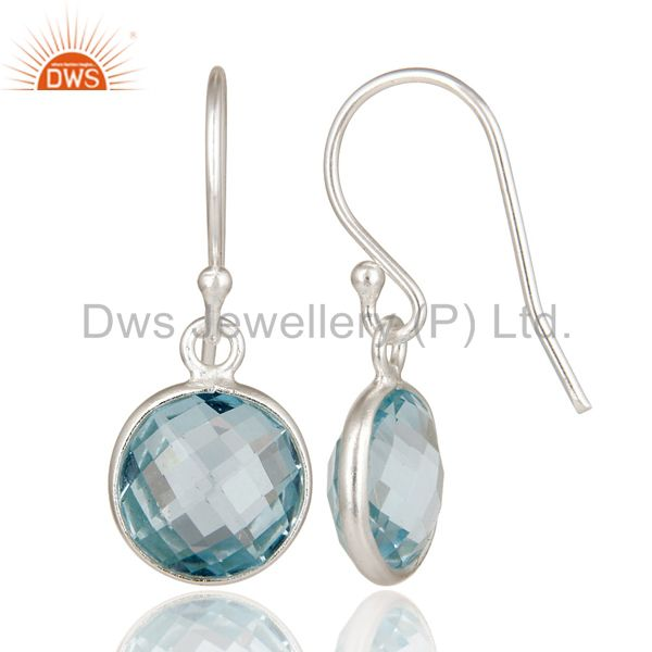 Designers 925 Sterling Silver Blue Topaz Gemstone Bezel Set Dangle Earrings