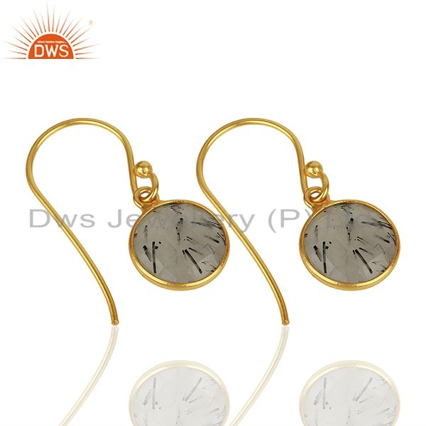 Suppliers Black Rutile Gemstone Gold Plated Silver Earrings Jewelry Supplier