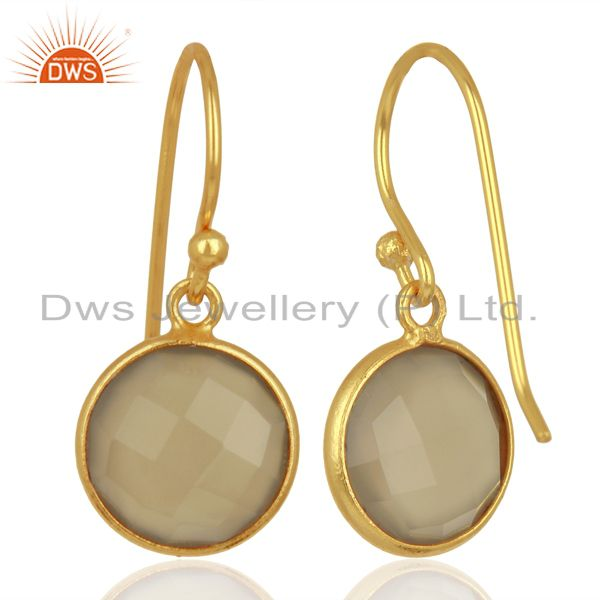Suppliers Gray Chalcedony Dangle Gold Plated 925 Sterling Silver Earrings Gemstone Jewelry
