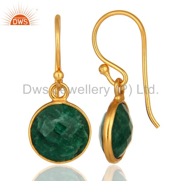 Designers Faceted Dyed Emerald 18K Plated Gold or Sterling Silver Bezel Set Earrings