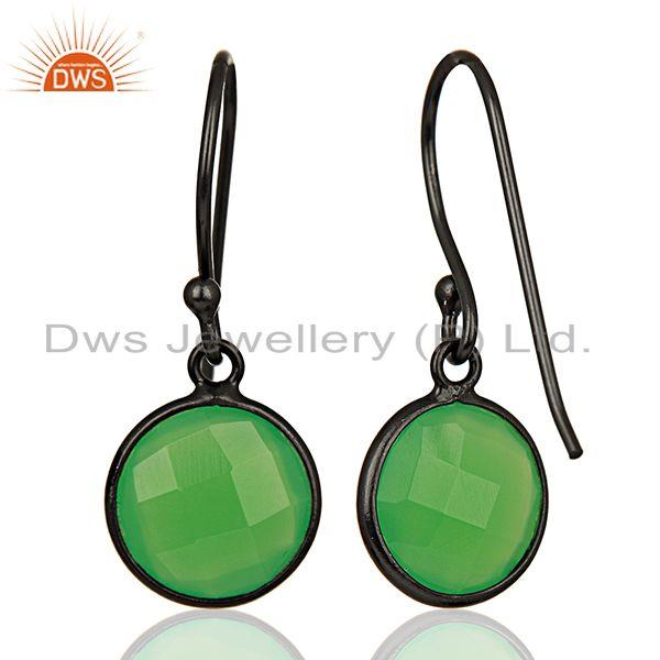 Suppliers Green Chalcedony Round Faceted Drop Bezel Set Sterling Silver Earring Jewelllery