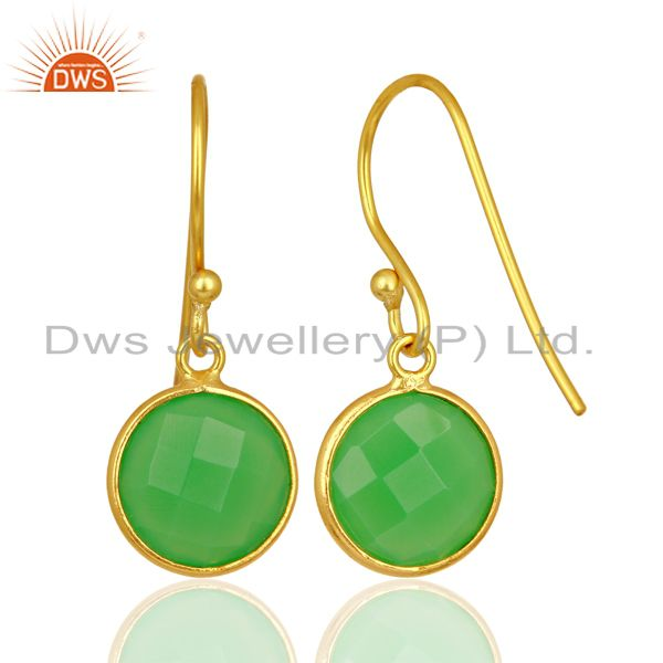 Suppliers Green Chalcedony Round Faceted Drop Bezel Set Sterling Silver Earrings