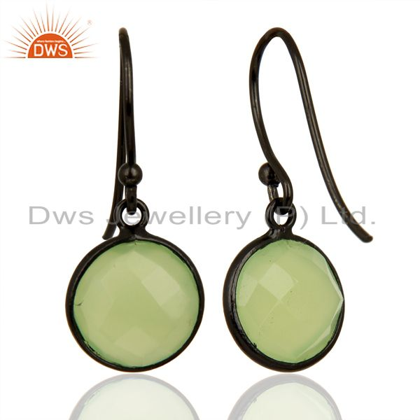 Suppliers Prehnite Chalcedony Round Faceted Bezel Set 925 Sterling Silver Drop Earrings