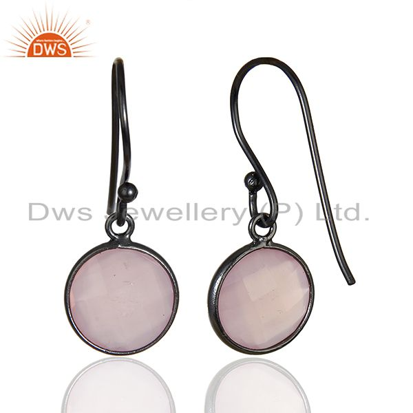 Suppliers Rose Chalcedony Round Faceted Drop Bezel Set 925 Sterling Silver Earrings