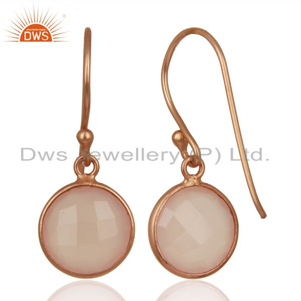 Suppliers Rose Chalcedony Round Faceted Bezel Set 925 Sterling Silver Drop Earrings