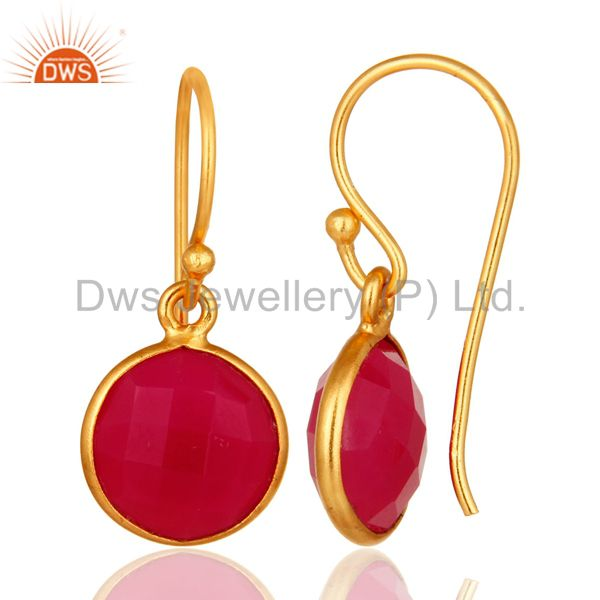 Designers Dyed Pink Chalcedony Sterling Silver Bezel Set Drop Earrings - Gold Plated