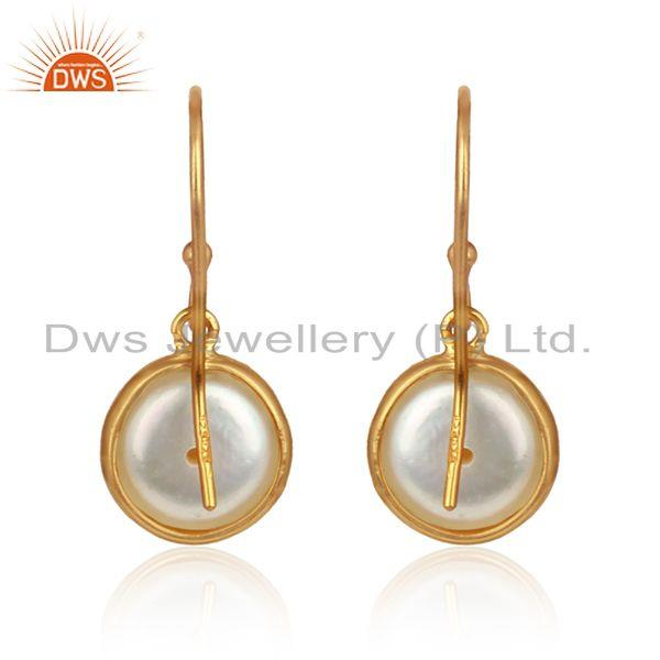 Designer of Natural round pearl gemstone designer gold plated silver earrings