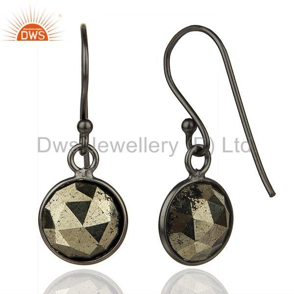 Suppliers Pyrite Gemstone Rhodium Plated 925 Sterling Silver Earrings Supplier