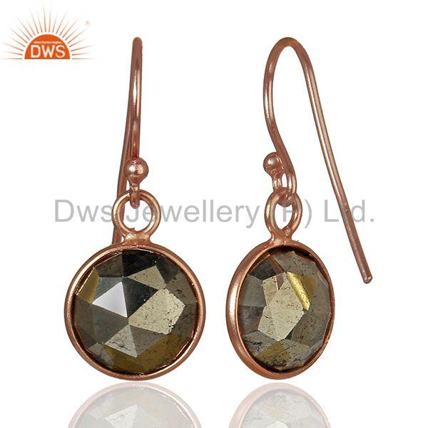 Suppliers Rose Gold Plated 925 Silver Pyrite Gemstone Earrings Girls Jewelry