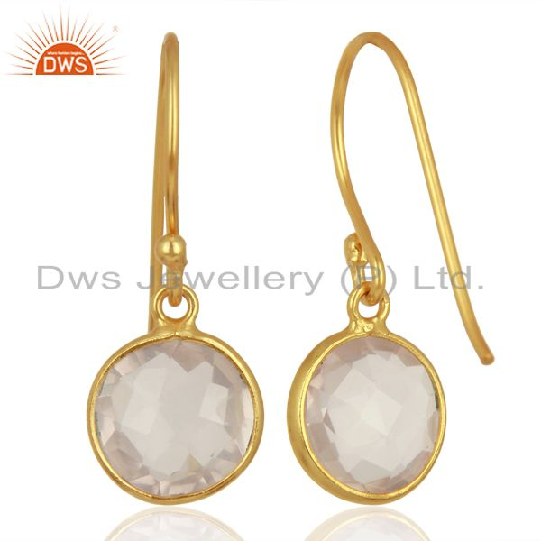 Suppliers Rose Quartz Round Faceted Bezel Set Sterling Silver Earrings Gemstone Jewellery