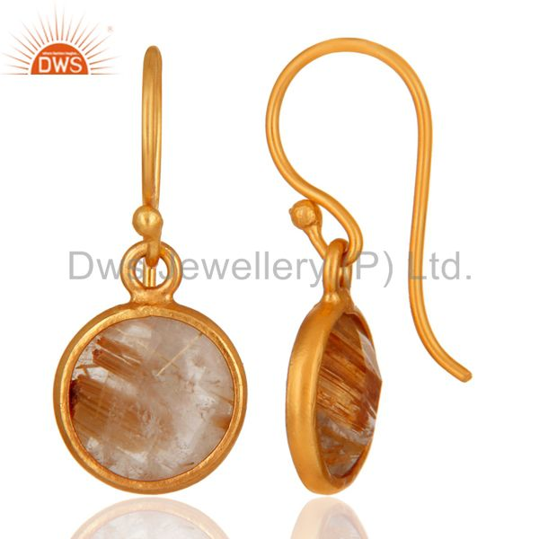 Suppliers 18K Yellow Gold Plated Sterling Silver Golden Rutilated Quartz Bezel Set Earring