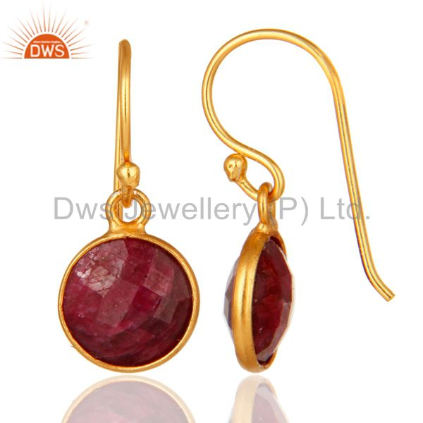 Designers Faceted Red Ruby Corundum Bezel-Set Sterling Silver Earrings With Gold Plated