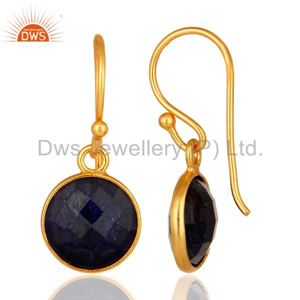Designers Dyed Blue Sapphire Gold Plated Sterling Silver Bezel Set Gemstone Earrings