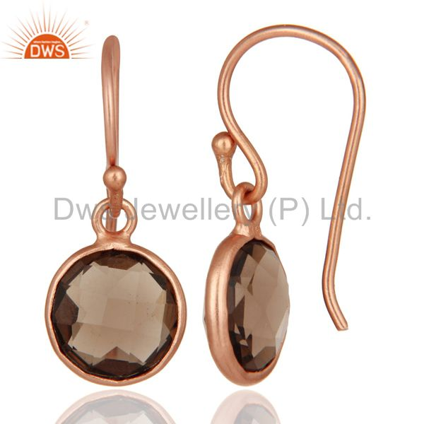 Suppliers 18K Rose Gold Plated Sterling Silver Smoky Quartz Bezel Set Hook Earrings