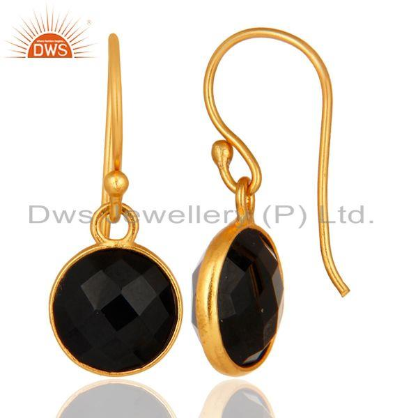 Designers Faceted Black Onyx Gemstone Sterling Silver Dangle Earrings With Gold Plated
