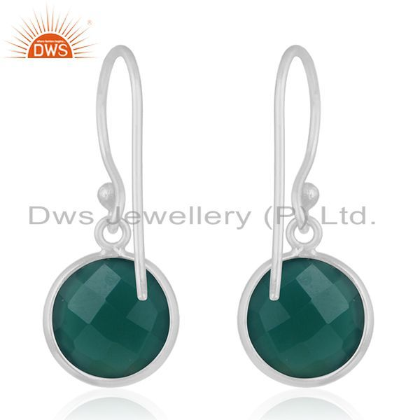 Suppliers Handmade 925 Fine Silver Green Onyx Gemstone Drpo Earrings Wholesale Suppliers