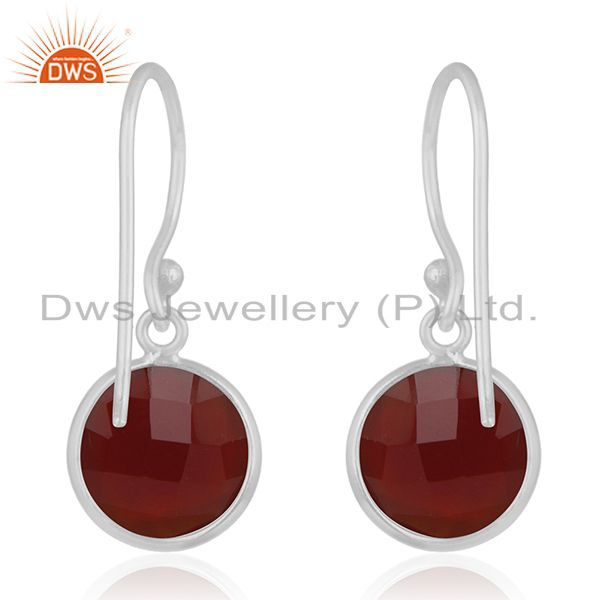 Suppliers Red Onyx Gemstone 925 Sterling Silver Drop Earring Manufacturer India