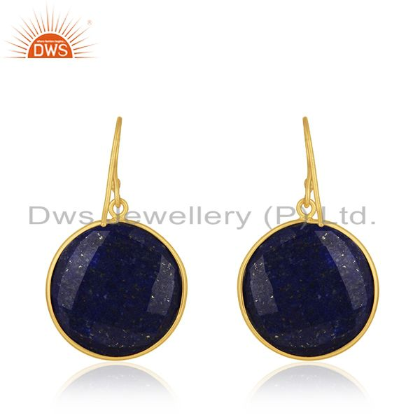 Suppliers 18K Yellow Gold Plated Sterling Silver Faceted Lapis Lazuli Bezel Set Earrings