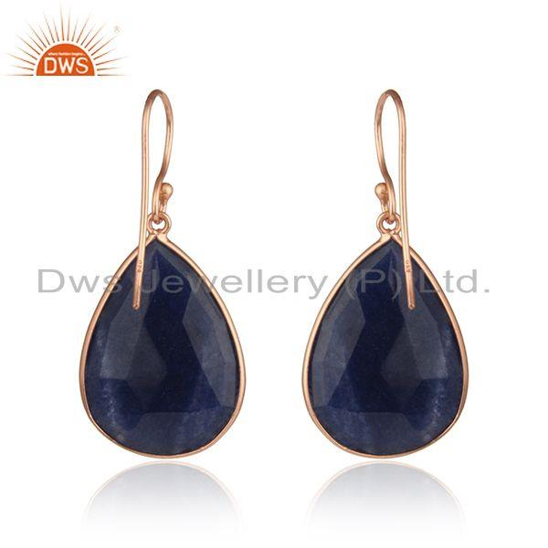 Suppliers Dyed Sapphire Gemstone Rose Gold Plated 925 Silver Drop Earrings