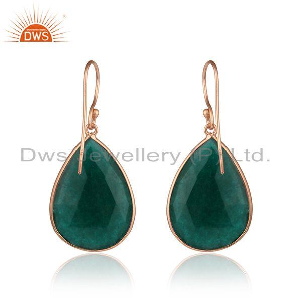 Suppliers Pear Shape Dyed Emerald Rose Gold Plated Silver Tear Drop Earring