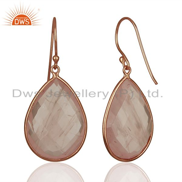 Suppliers Rose Gold Plated 925 Silver Rose Quartz Gemstone Earrings Manufacturer