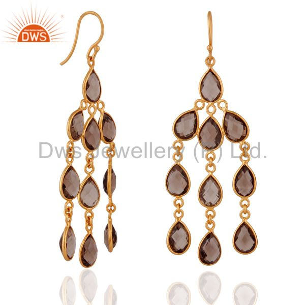 Suppliers 18K Yellow Gold Plated Faceted Smoky Quartz Chandelier Brass Earrings