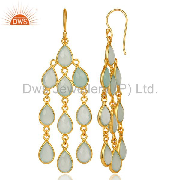 Designers 18K Yellow Gold Plated Sterling Silver Dyed Chalcedony Gemstone Dangle Earrings