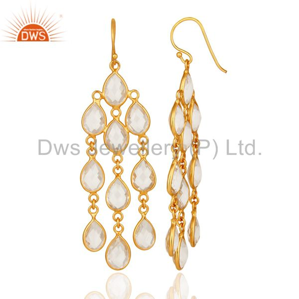 Suppliers 18K Yellow Gold Plated Sterling Silver Crystal Quartz Fashion Chandelier Earring