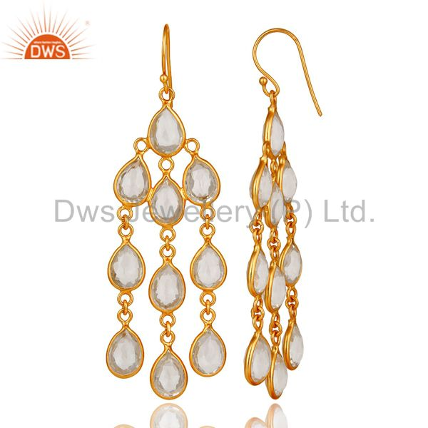 Designers 18K Yellow Gold Plated Sterling Silver Crystal Quartz Bridal Chandelier Earrings