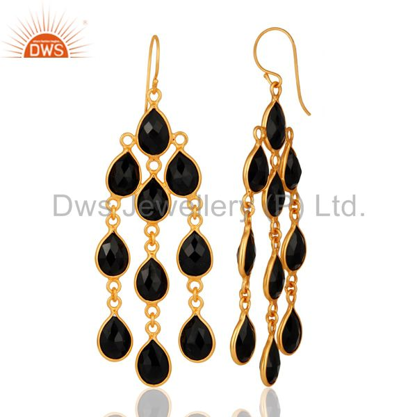 Designers 18K Yellow Gold Plated Sterling Silver Black Onyx Chandelier Earrings