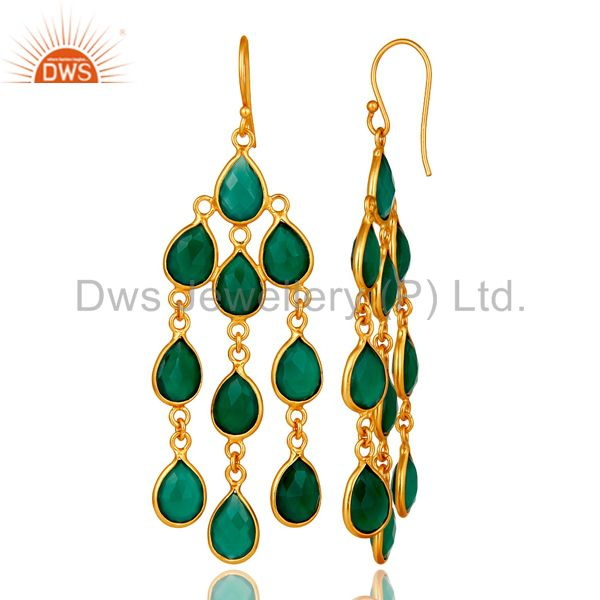 Designers 18K Yellow Gold Plated Sterling Silver Green Onyx Bezel Set Chandelier Earrings