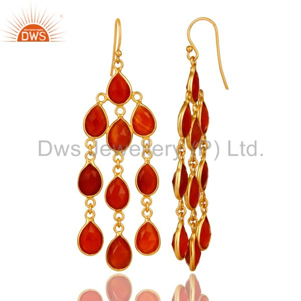 Designers 18K Yellow Gold Plated Sterling Silver Red Onyx Gemstone Chandelier Earrings