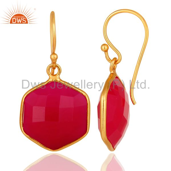 Designers 18K Gold On Sterling Silver Faceted Dyed Pink Chalcedony Bezel-Set Drop Earrings
