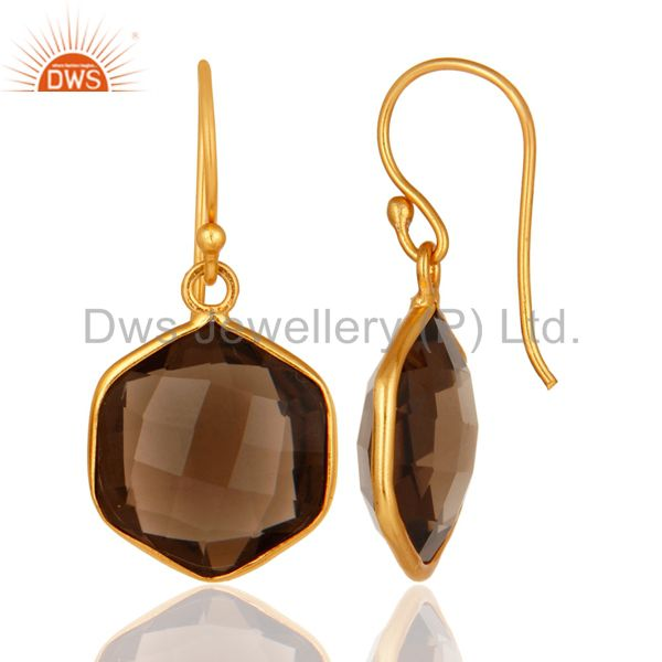 Designers Smoky Quartz Faceted Hexagon Shaped 18K Gold On Sterling Silver Dangle Earrings