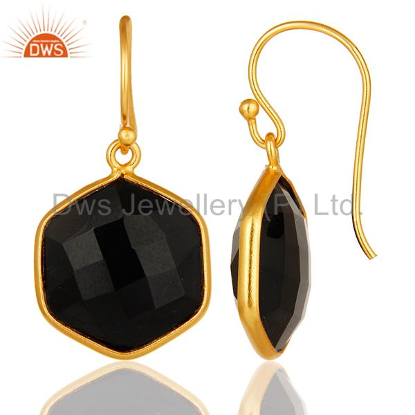 Designers 18K Yellow Gold Plated Sterling Silver Black Onyx Gemstone Drop Earrings