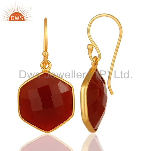Designers 22ct Gold Plated Sterling Silver Faceted Red Onyx Hexagonal Drop Earrings