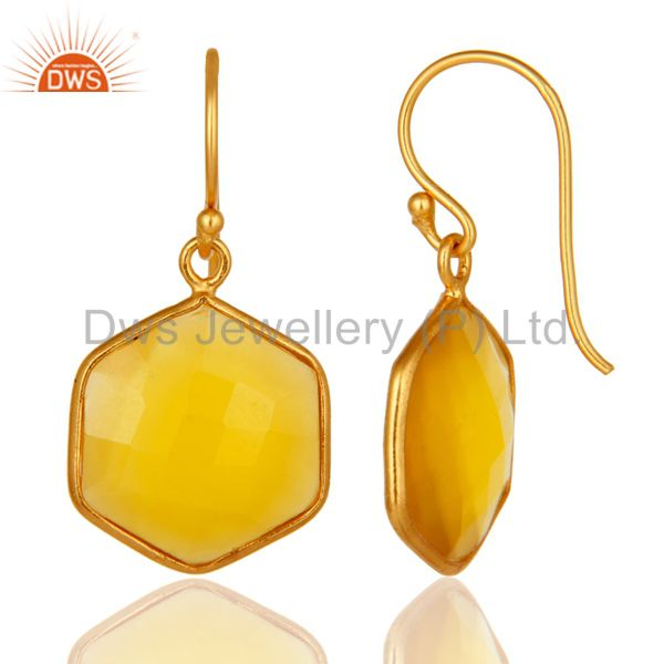 Designers Bezel-Set Yellow Chalcedony 18K Gold Plated Sterling Silver Drop Earrings