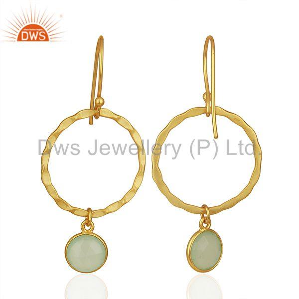 Suppliers Handmade Sterling Silver Gold Plated Chalcedony Gemstone Earrings