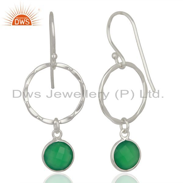 Suppliers Handcrafted Circle & Hammer Sterling Silver Double Dangle/Drop Earrings Jewelry