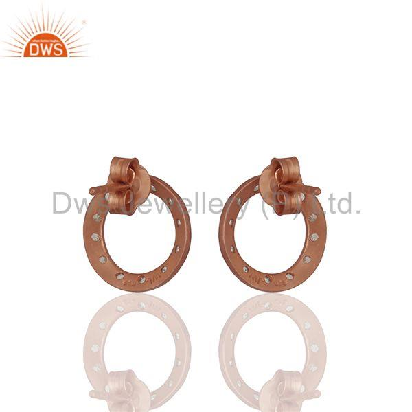 Suppliers Rose Gold Plated White Topaz Circle Stud Earrings Manufacturer