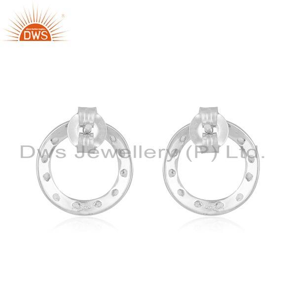 Designers 925 Sterling Silver White Topaz Gemstone Open Circle Stud Earrings