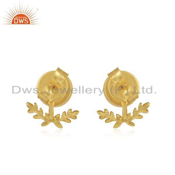 Suppliers Rainbow Moonstone Gold Plated Brass Fashion Stud Earring Manufacturer