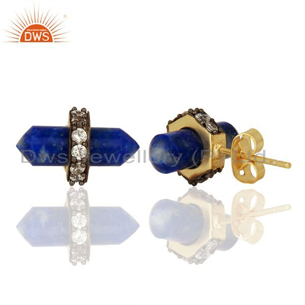Suppliers Lapis Gemstone CZ Stud Earring Handmade Fashion Earring Supplier
