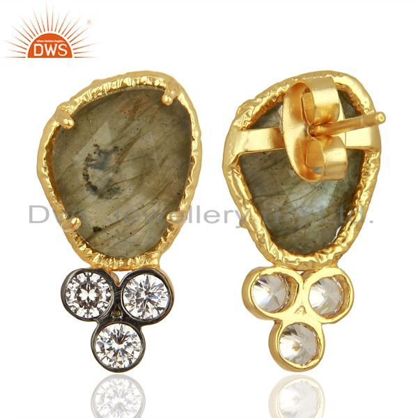 Suppliers CZ & Labradorite Gemstone Gold Plated Fashion Stud Earring Manufacture