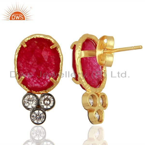 Suppliers Red Aventiurine Gemstone CZ Gold Plated Fashion Stud Earrings